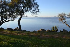 Vista do Guaiba e Porto Alegre.